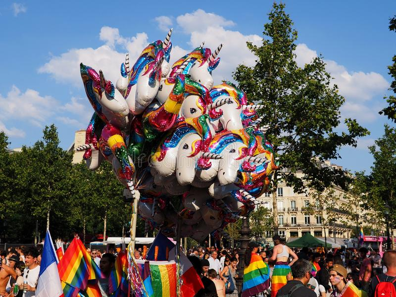 Colourful air-filled stick balloons at the 2018 Paris Gay Pride. PARIS, FRANCE - JUNE 30, 2018: Colourful air-filled stick balloons are displayed during the 2018 stock photo