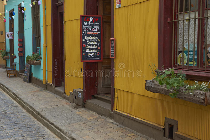 Colourful Alleyway in Valparaiso, Chile stock images