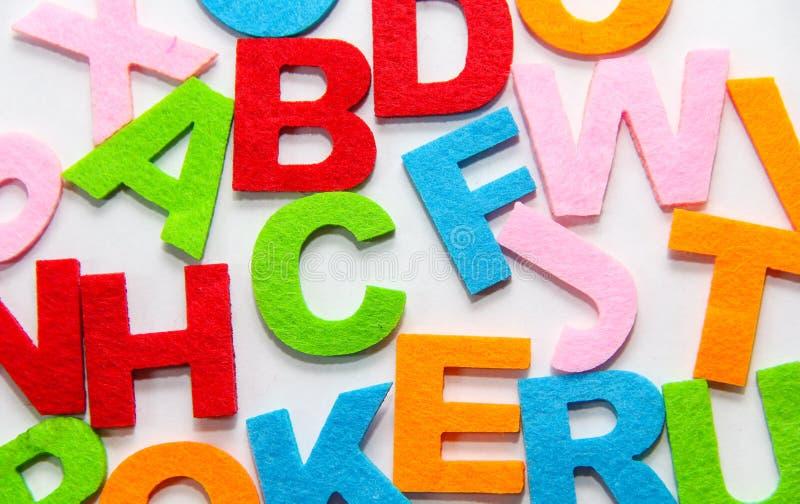 Colourful alphabet isolated on white background stock photography