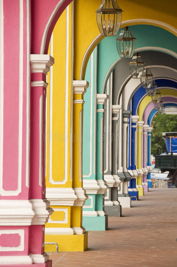 Colourful Arches, Penang Malaysia. Colourful old heritage houses in Penang, Malaysia royalty free stock image