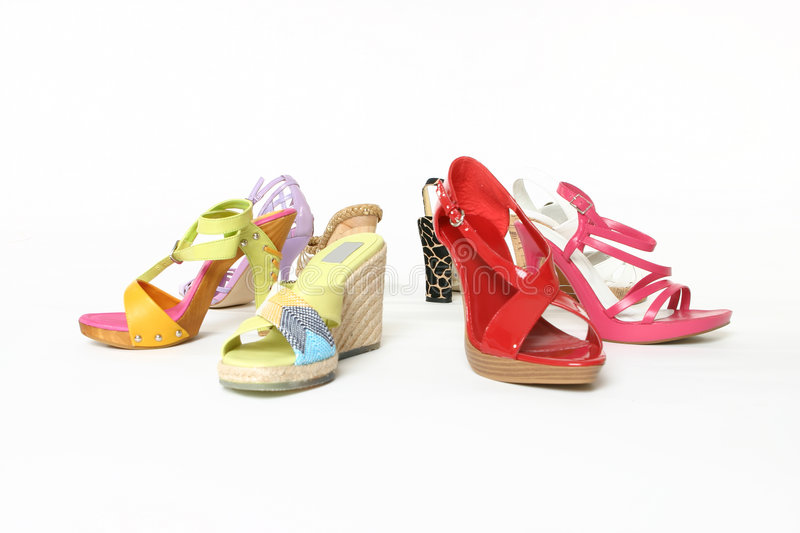 Colourful array of shoes stock photos
