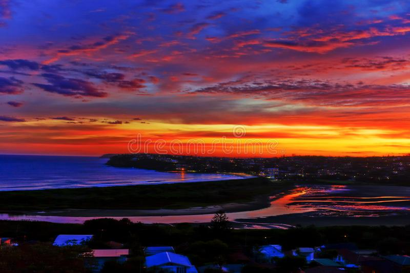 Colourful artistic sunset over the ocean royalty free stock image