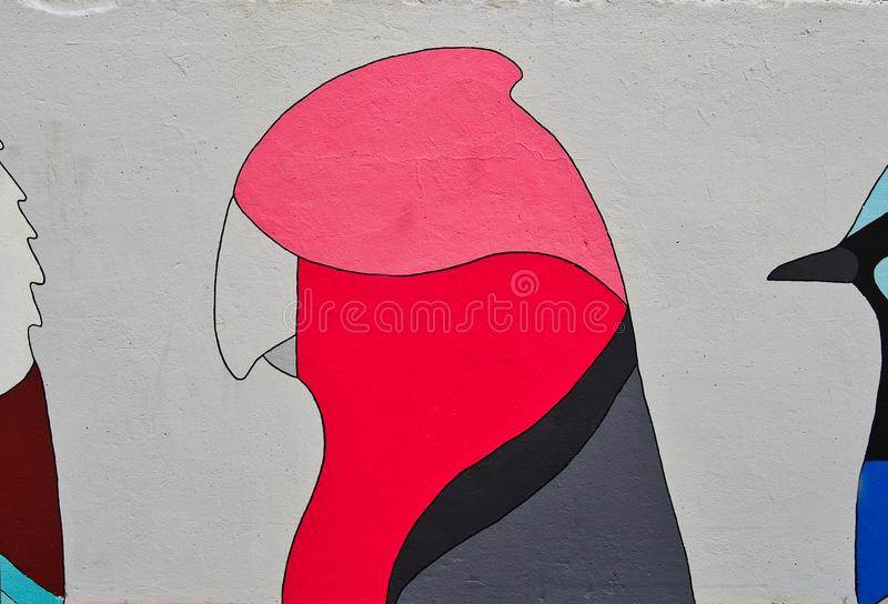 Colourful Galah Bird Graffiti Art, Bondi Beach, Australia royalty free stock photos