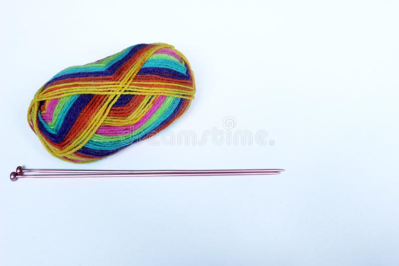Colourful Wool and Knitting Needles stock photos