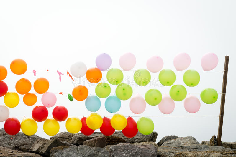 Colourful balloons. On the coast in Istanbul, Turkey royalty free stock image