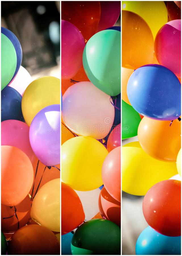 Colourful balloons in panels. Colourful balloons in comic style panels royalty free stock photography