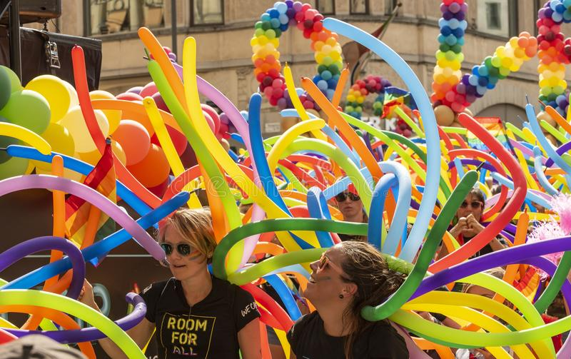Colourful balloons and people Europride royalty free stock photos