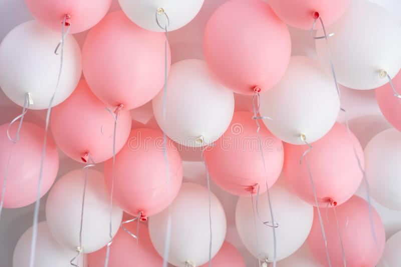 Colourful balloons, pink, white, streamers. Helium Ballon floating in birthday party. Concept balloon of love and. Valentine. baloon in flight royalty free stock image