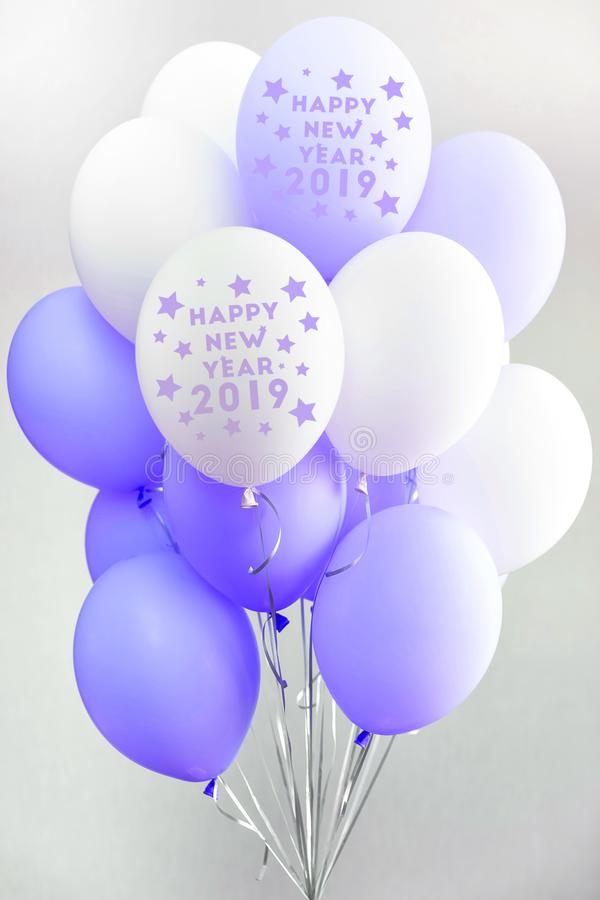 Colourful balloons, pink, white, streamers. Helium Ballon floating in birthday party. Concept balloon of love and stock photo