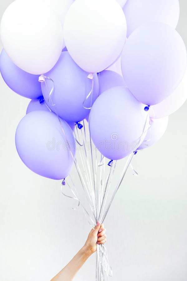 Colourful balloons, pink, white, streamers. Helium Ballon floating in birthday party. Concept balloon of love and royalty free stock photography