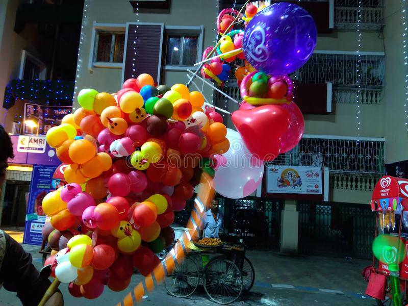 Colourful balloons are ready for sell in a festival in Kolkata India stock photo