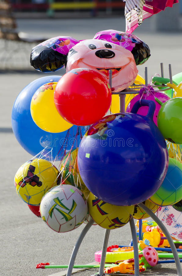 Colourful balloons. For sale in an amusement park in Bucharest, Romania royalty free stock photos