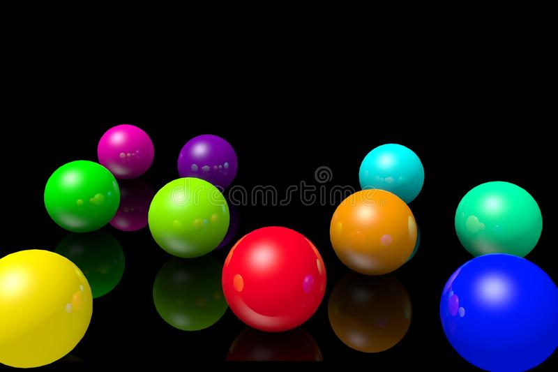 Colourful balls on a black mirrored background. vector illustration