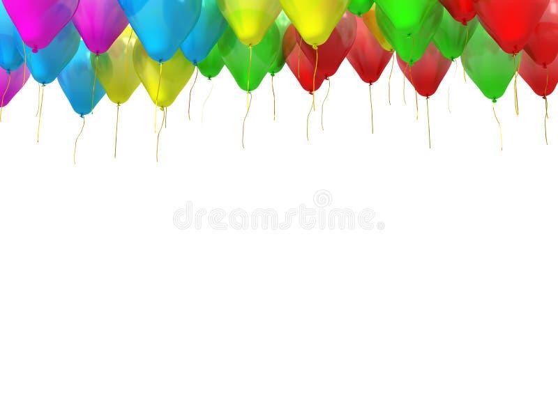 Colourful balony z złotymi streamers odizolowywającymi na bielu ilustracja wektor