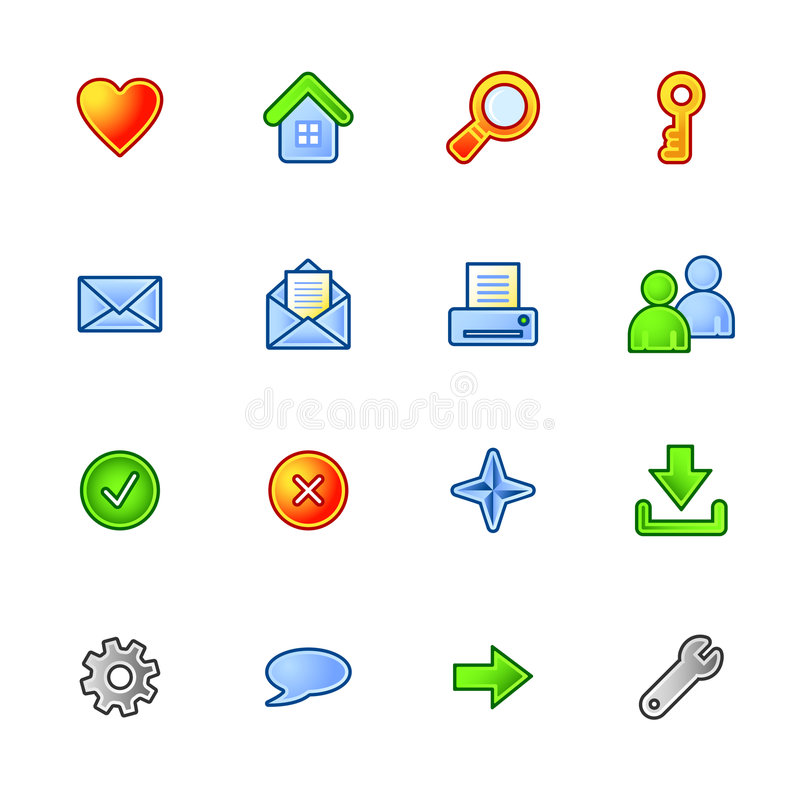 Colourful basic web icons vector illustration