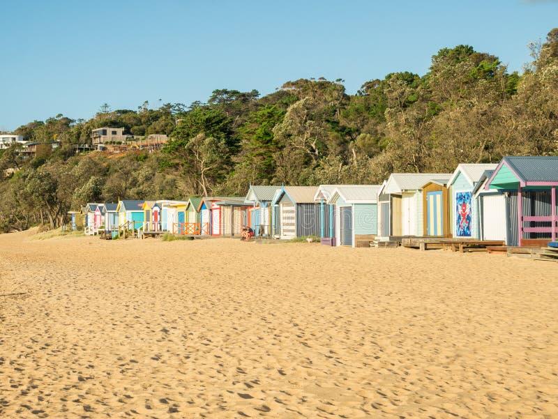 Colourful bathing boxes in Mornington on the Mornington Peninsula stock photo