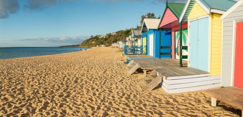 Colourful bathing boxes in Mornington on the Mornington Peninsula stock photos