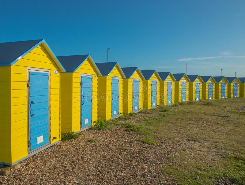 Colourful Beach Huts in Littlehampton. United Kingdom. Colourful Beach Huts, taken on a summers day, in Littlehampton, West Sussex. 2017 stock photos