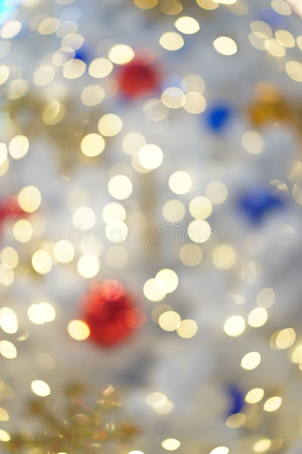 Colourful & Beautiful Blurry circle bokeh, out of focus background in the Christmas concept and theme stock image
