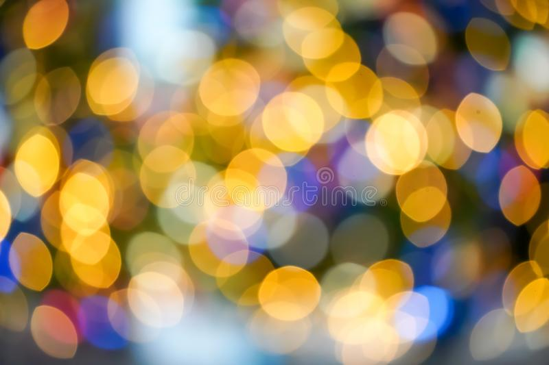 Colourful & Beautiful Blurry circle bokeh, out of focus background in the Christmas concept and theme stock photo