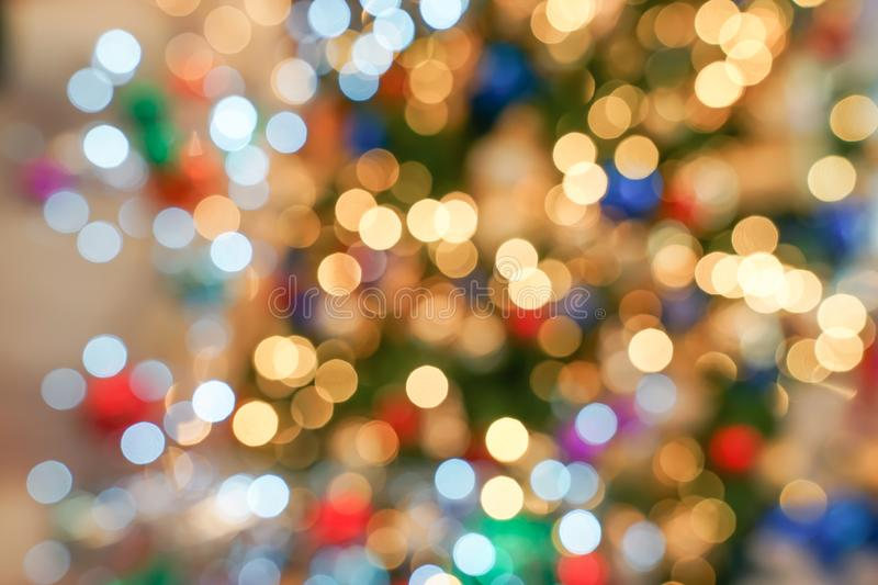 Colourful & Beautiful Blurry circle bokeh, out of focus background in the Christmas concept and theme royalty free stock photography