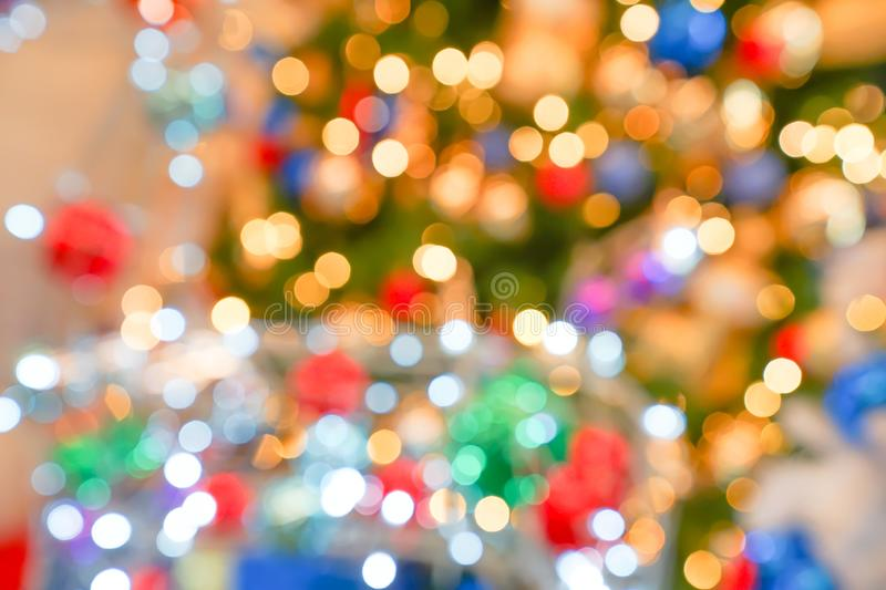Colourful & Beautiful Blurry circle bokeh, out of focus background in the Christmas concept and theme royalty free stock photos