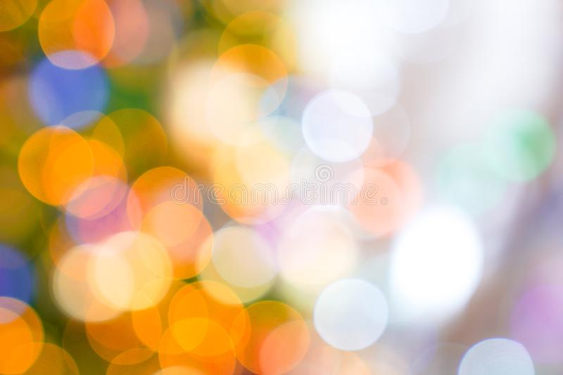 Colourful & Beautiful Blurry circle bokeh, out of focus background in the Christmas concept and theme royalty free stock image