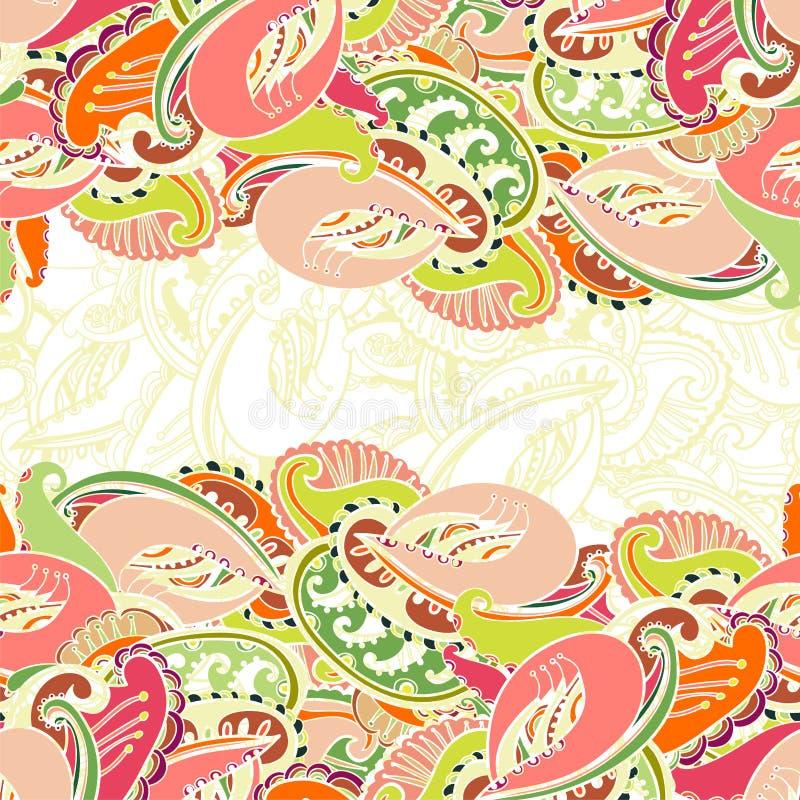 Colourful bezszwowa indianina Paisley granica ilustracji