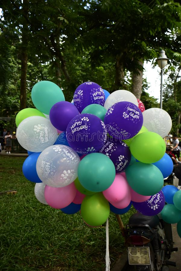 Colourful birthday balloons. On sale here at Saigon Zoo in Ho Chi Minh City, Vietnam stock photography