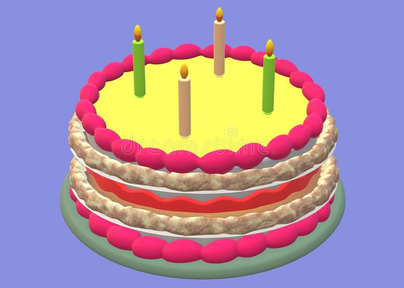 A colourful birthday cake with four colourful candles lit placed on the top face royalty free stock photography