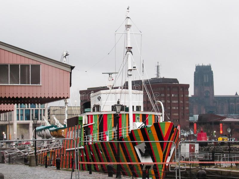 Colourful boat on a river in Liverpool city stock images