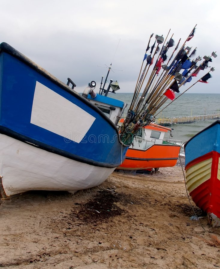 Download Colourful boats on beach. stock image. Image of baltic - 2234445