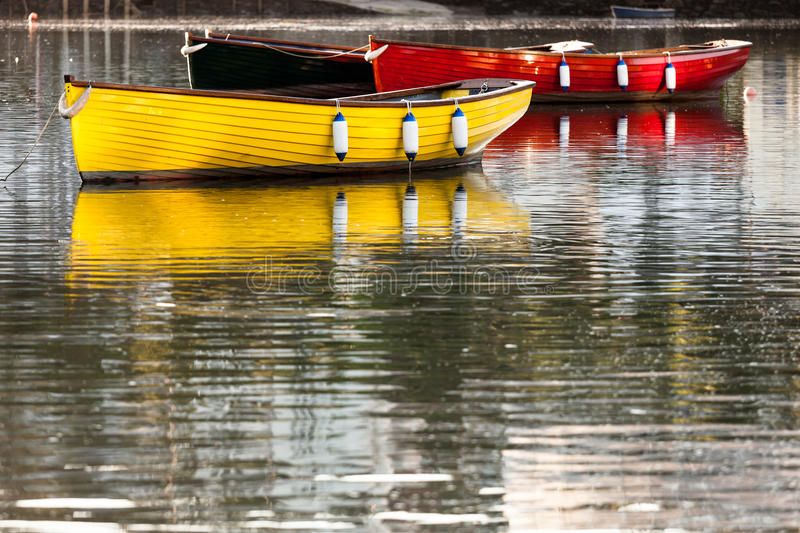 Colourful Boats with Reflections stock image