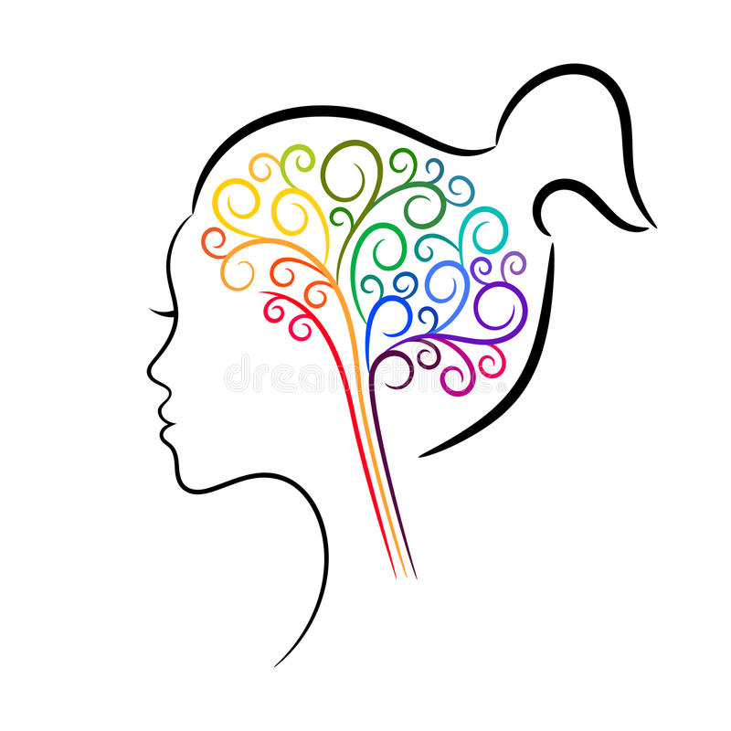 Colourful brain in female head, contour drawing. Vector design for any decoration. Creative concept royalty free illustration