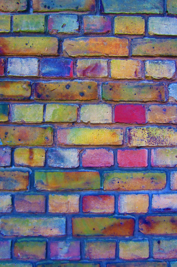 Colourful brick wall. Brick wall with colourful details stock photo