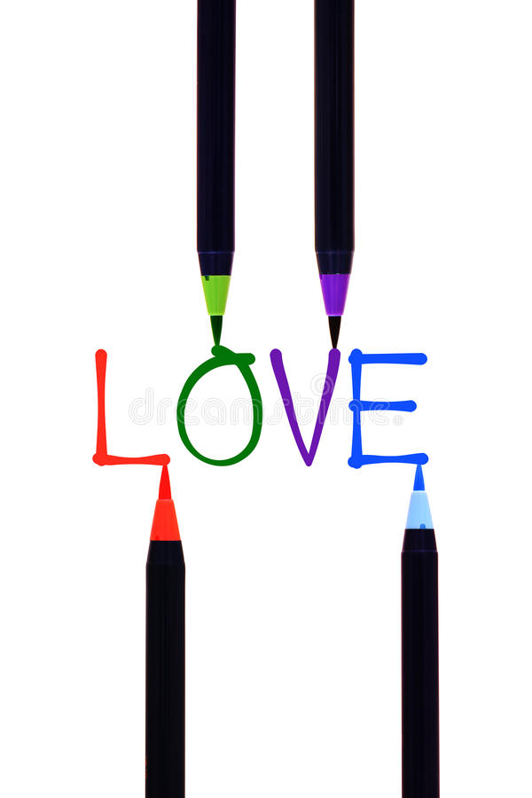 Colourful brushwork in love. On white background stock photo