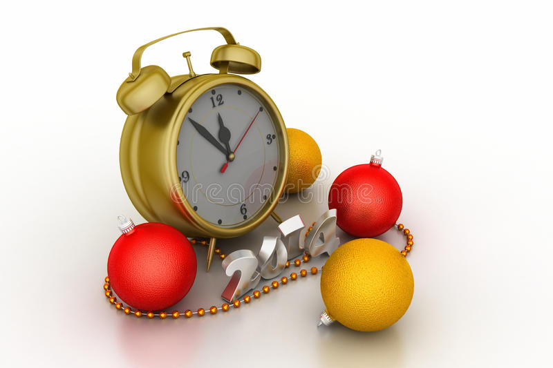 Colourful bubble with alarm clock. Christmas: colourful bubble with alarm clock stock illustration