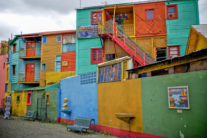 Colourful buildings in buenos aires stock photography