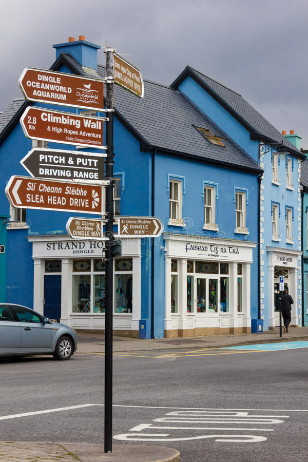 Colourful buildings. Dingle. Ireland. Picturesque and colourful buildings and sign post. Dingle. county Kerry. Ireland royalty free stock photos