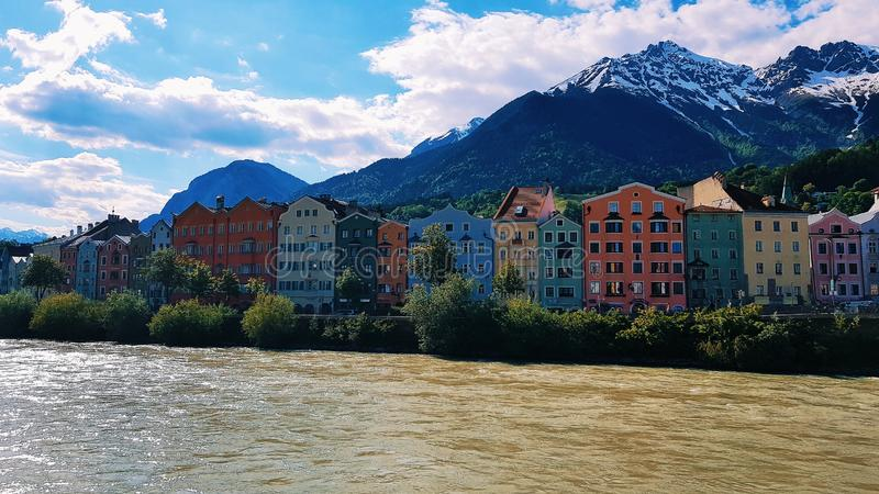 Colourful Buildings in Innsbruck stock image