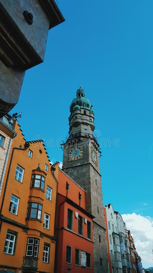 Colourful Buildings in Innsbruck royalty free stock images