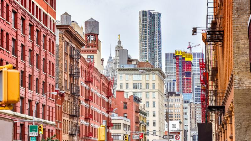 Colourful buildings in a street of Soho. Manhattan, NYC. USA royalty free stock photo