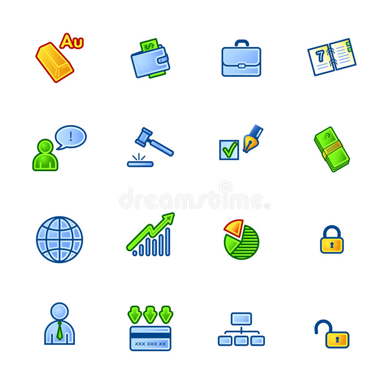 Colourful Business Icons Stock Images
