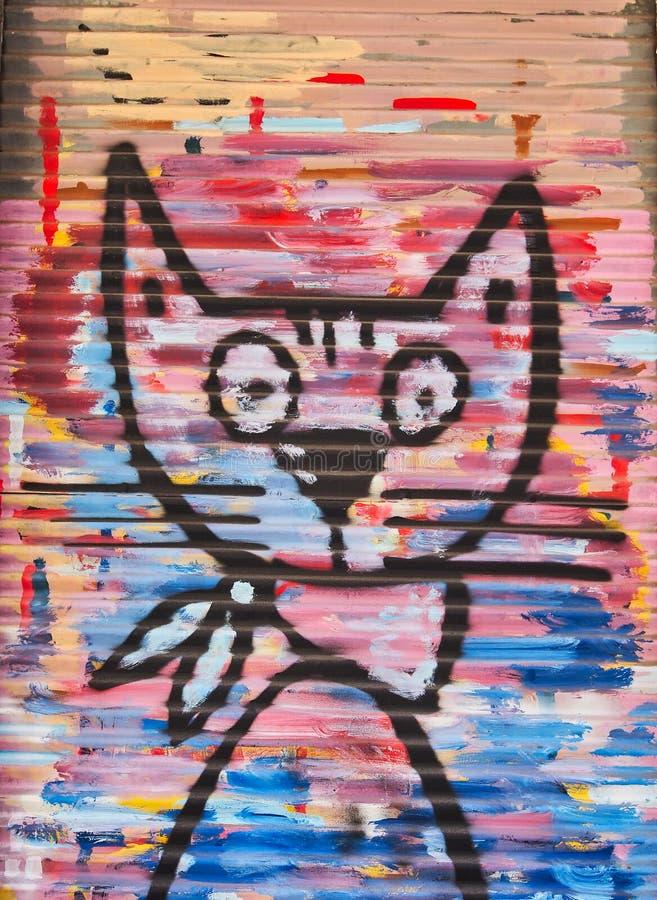 Colourful Cat, Graffiti Art, Athens, Greece stock photos