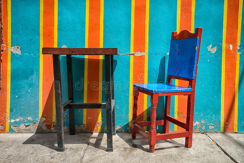 Colourful chair. Traditional colourful chair closeup in EL Jardin Colombia stock photos