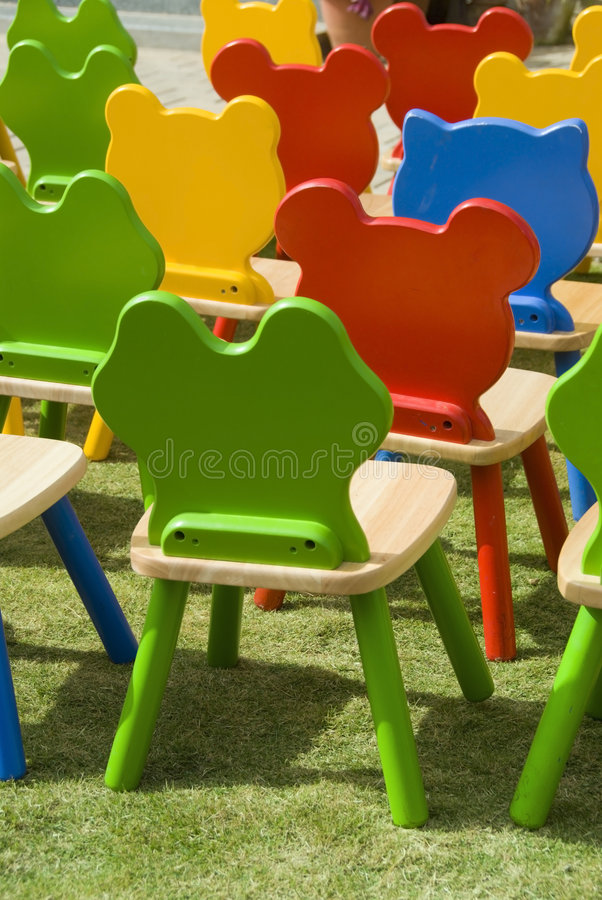 Colourful chairs stock images