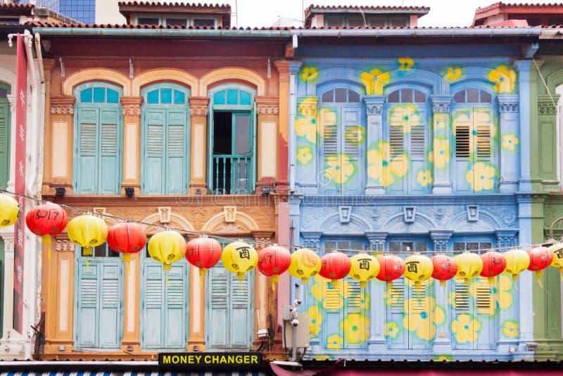 Colourful Chińscy lampiony w Pagodowej ulicie i shophouses, Chinatown, Singapur obrazy royalty free