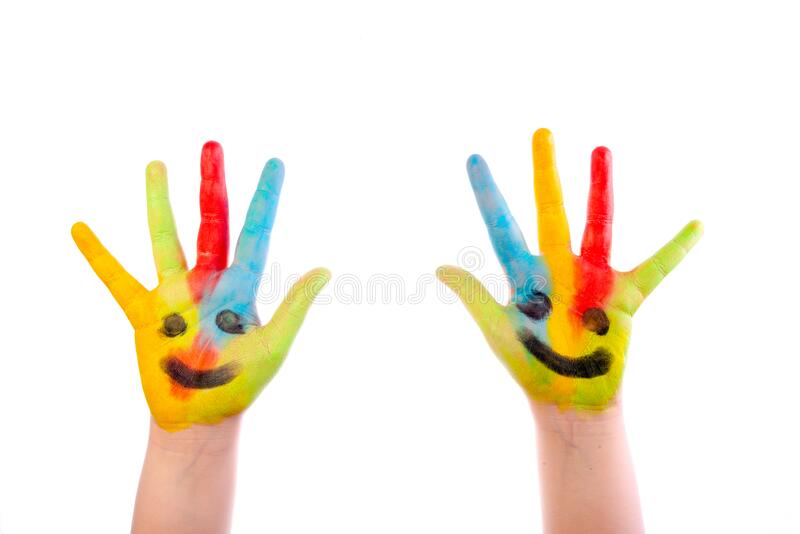Colourful child hands isolated on white royalty free stock photos