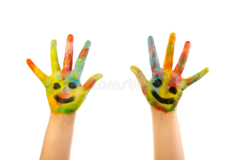 Colourful child hands isolated on white royalty free stock photography