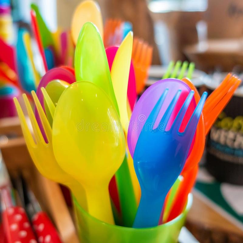Colourful child safe plastic cutlery stock photos